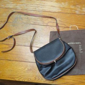 Vtg Bottega Veneta Navy Blue & Brown Crossbody Bag